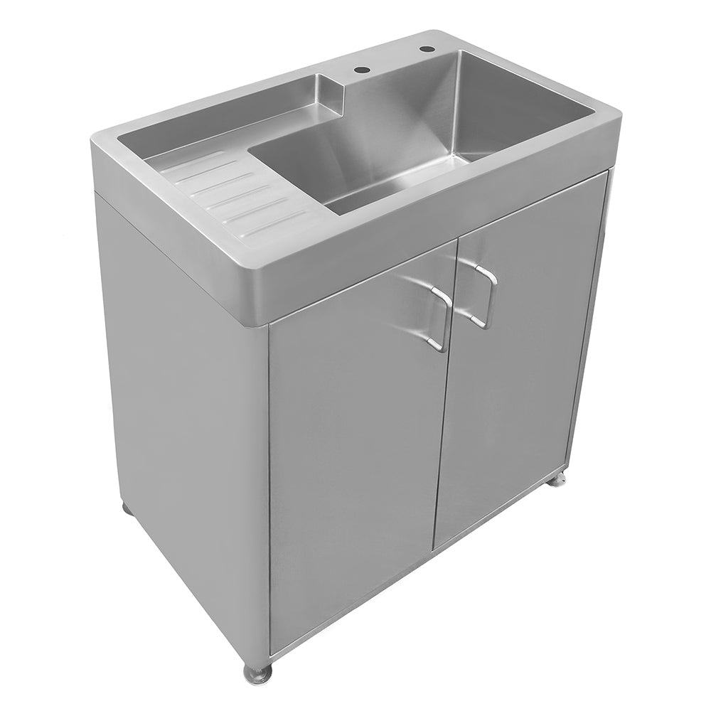 Pearlhaus Brushed Stainless Steel Double Door, Freestanding Cabinet with Sink