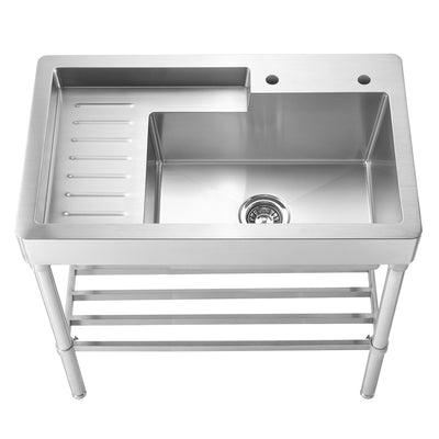 "33"" Pearlhaus Stainless steel single bowl, freestanding sink with drainboard & lower rack"
