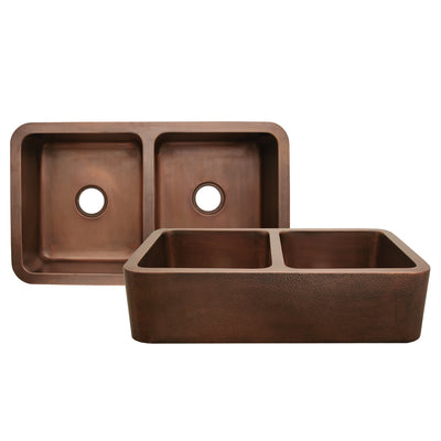 "Copperhaus 36"" Rectangular Double Bowl Undermount Sink with Hammered Front Apron"