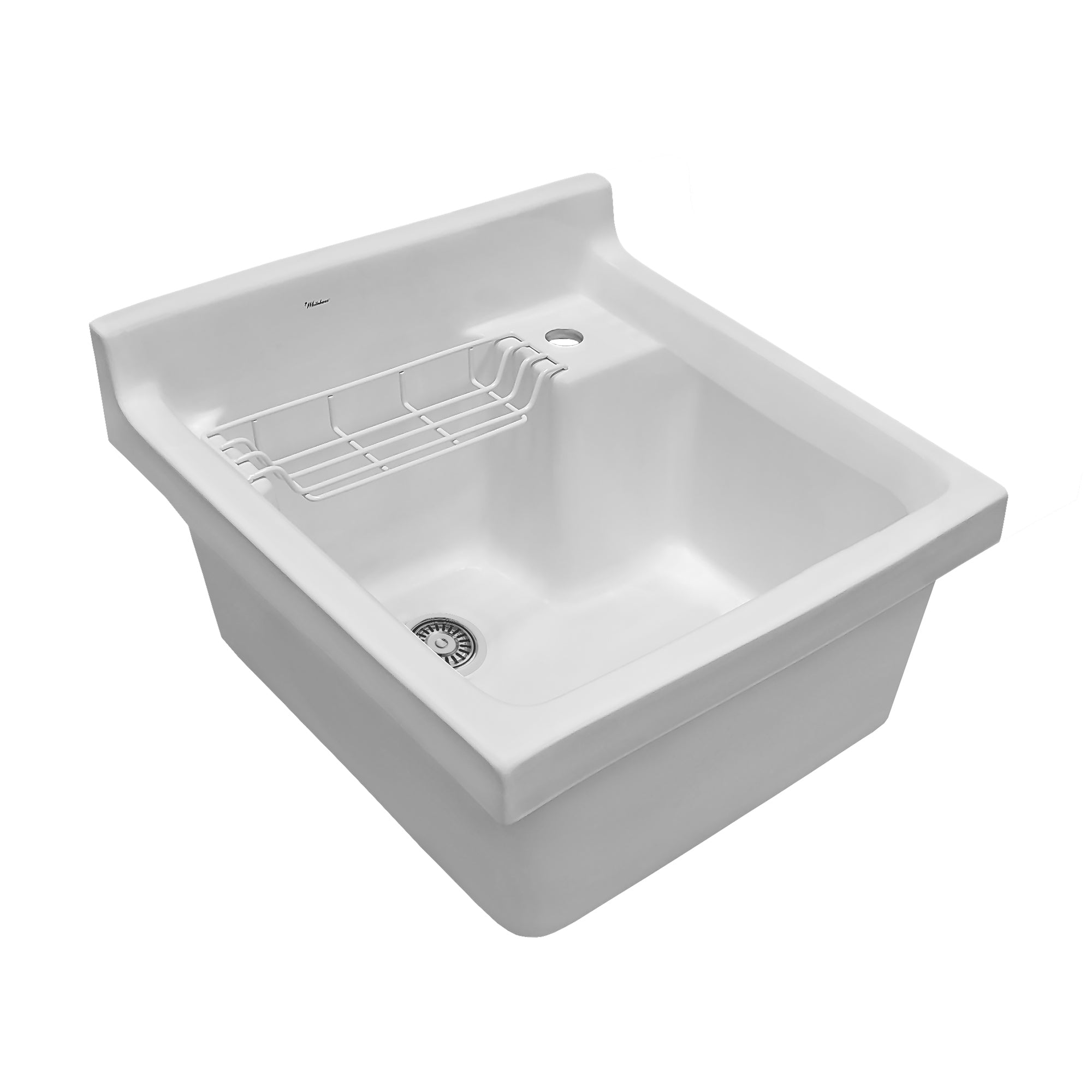 Vitreous China Single Bowl, Drop-in Sink with Wire Basket and 3 ½ Inch Off Center Drain