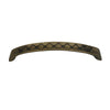 Curved pull handle with circular inlays made of solid brass.