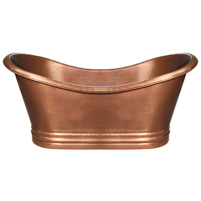 Bathhaus Copper Freestanding Handmade Double Ended Bathtub with Hammered Exterior, Lightly Hammered Interior