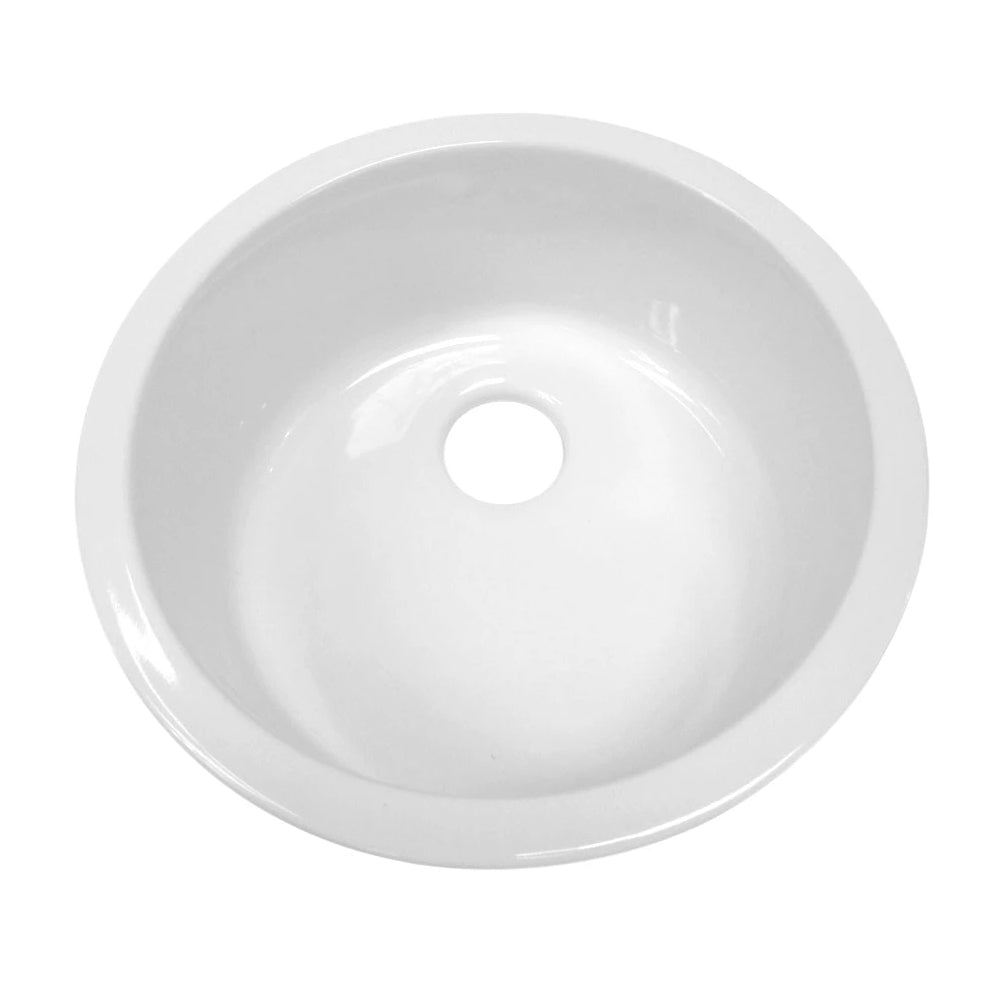 "Elementhaus 18"" Circular Drop In/Undermount Fireclay Sink"