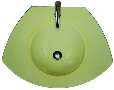 "New Generation 27"" Ecoloom Trapezoidal Glass Counter Top with Integrated Round Basin"