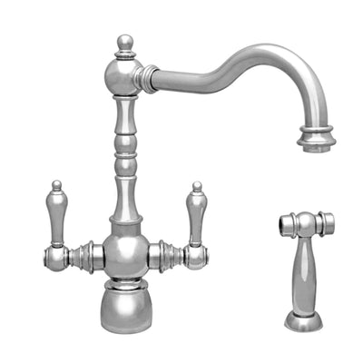 Englishhaus dual lever handle faucet with traditional swivel spout, solid lever handles and solid brass side spray
