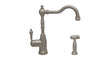 Englishhaus single lever handle faucet with traditional swivel spout, solid lever handle and solid brass side spray