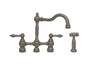 Englishhaus bridge faucet with long traditional swivel spout, solid lever handles and solid brass side spray