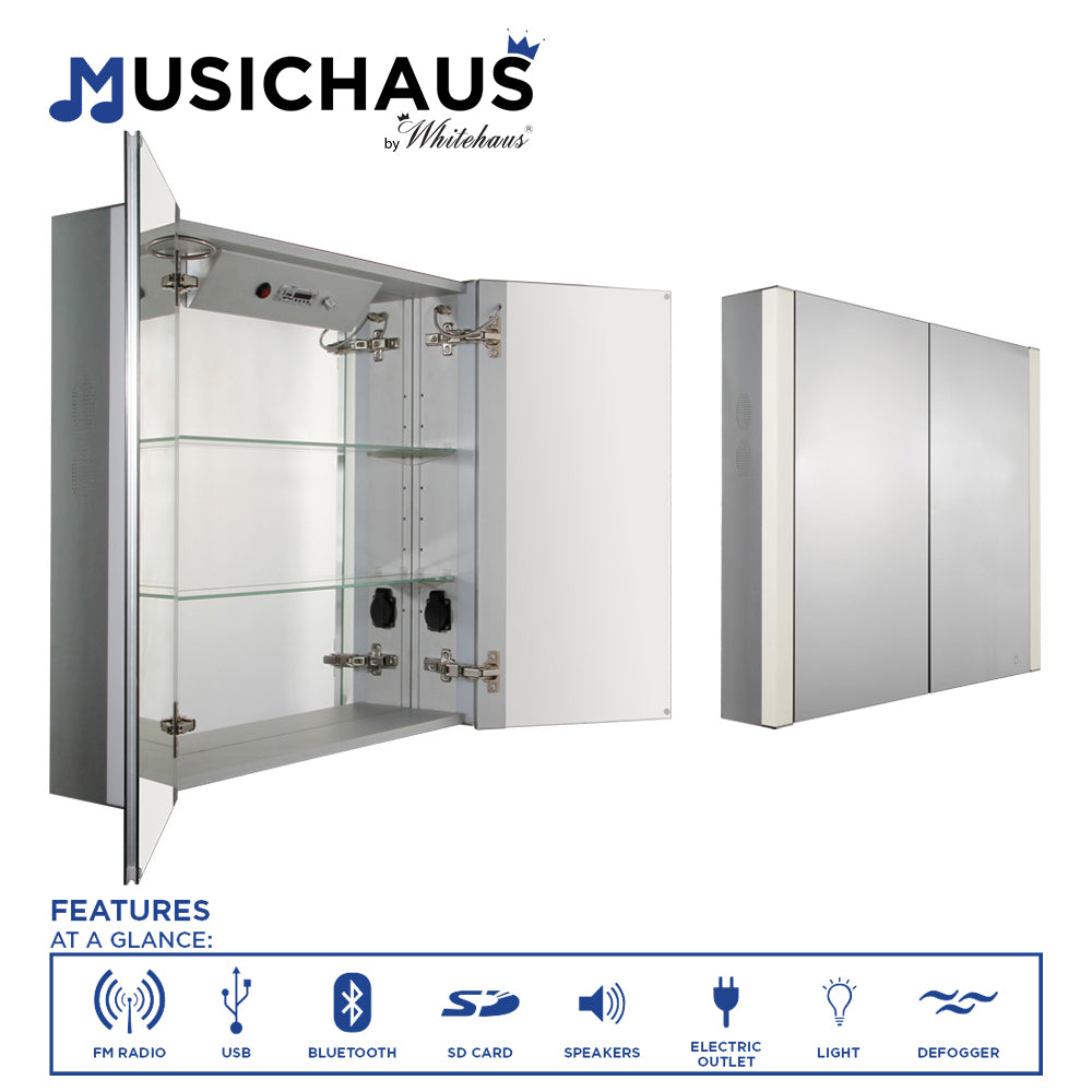Musichaus Double Mirrored Door Medicine Cabinet with USB, SD Card, Bluetooth, FM radio, Speakers, Defogger, & Dimmer