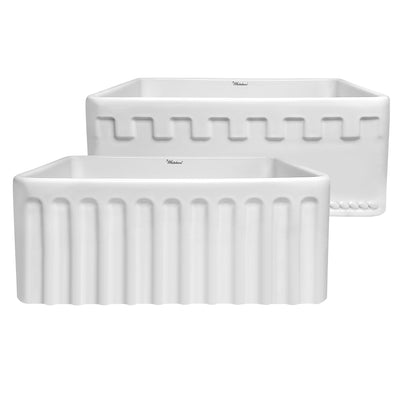 "Reversible Series 24"" fireclay kitchen sink with Castlehaus design on front apron"