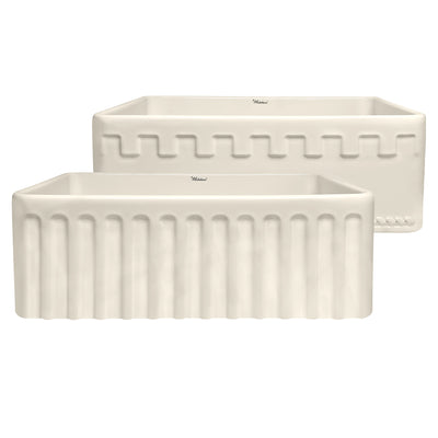 "Reversible Series 30"" fireclay kitchen sink with a Castlehaus design front apron"
