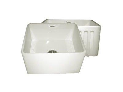 "Reversible Series 20"" Fireclay kitchen sink with smooth front apron"