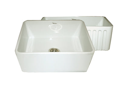 "Reversible Series 24"" Fireclay kitchen sink with smooth front apron"