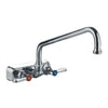 Heavy Duty Wall Mount Utility Faucet with Extended Swivel Spout and Lever Handles