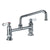 Heavy Duty Utility Bridge Faucet with an Extended Swivel Spout and Lever Handles