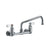 Heavy Duty Wall Mount Utility Faucet with an Extended Swivel Spout and Lever Handles