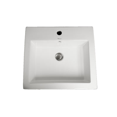 "Isabella Collection 19"" Trapezoid Shaped Wall Mount Basin with Integrated Rectangular Bowl and a Center Drain"