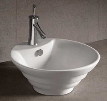 "Isabella Collection 18"" Round Stepped Above Mount Basin with Overflow, Single Faucet Hole and Center Drain"
