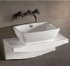 "Isabella Collection 30"" Rectangular Above Mount Basin with Overflow, Center drain and Matching Wall Mount Counter Top"