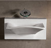 "Isabella Collection 28"" Rectangular Wall Mount Basin with Integrated Rectangular Bowl, Single Faucet Hole and Rear Center Drain"