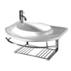 "Isabella Collection 35"" Large Wall Mount Basin with Integrated Round Bowl, Single Faucet Hole and Center Drain"