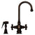 Vintage III Dual Handle Entertainment/Prep Faucet with Short Gooseneck Swivel Spout, Cross Handles and Solid Brass Side Spray