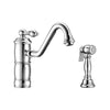 Vintage III Plus single lever faucet with traditional swivel spout and solid brass side spray