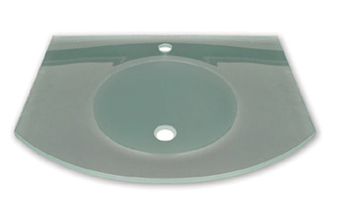 "New Generation Arched 1/2"" Matte Glass Counter Top with Integrated Round Basin"