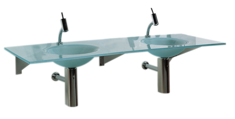"New Generation 59"" Rectangular 1/2"" Matte Glass Counter Top with Double Integrated Round Basins"