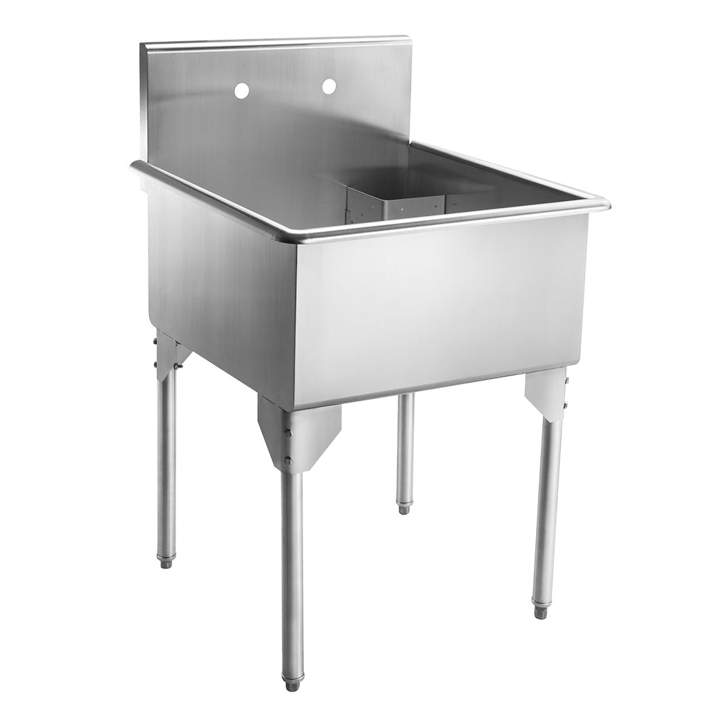 "27"" Pearlhaus Stainless steel square, single bowl freestanding utility sink"
