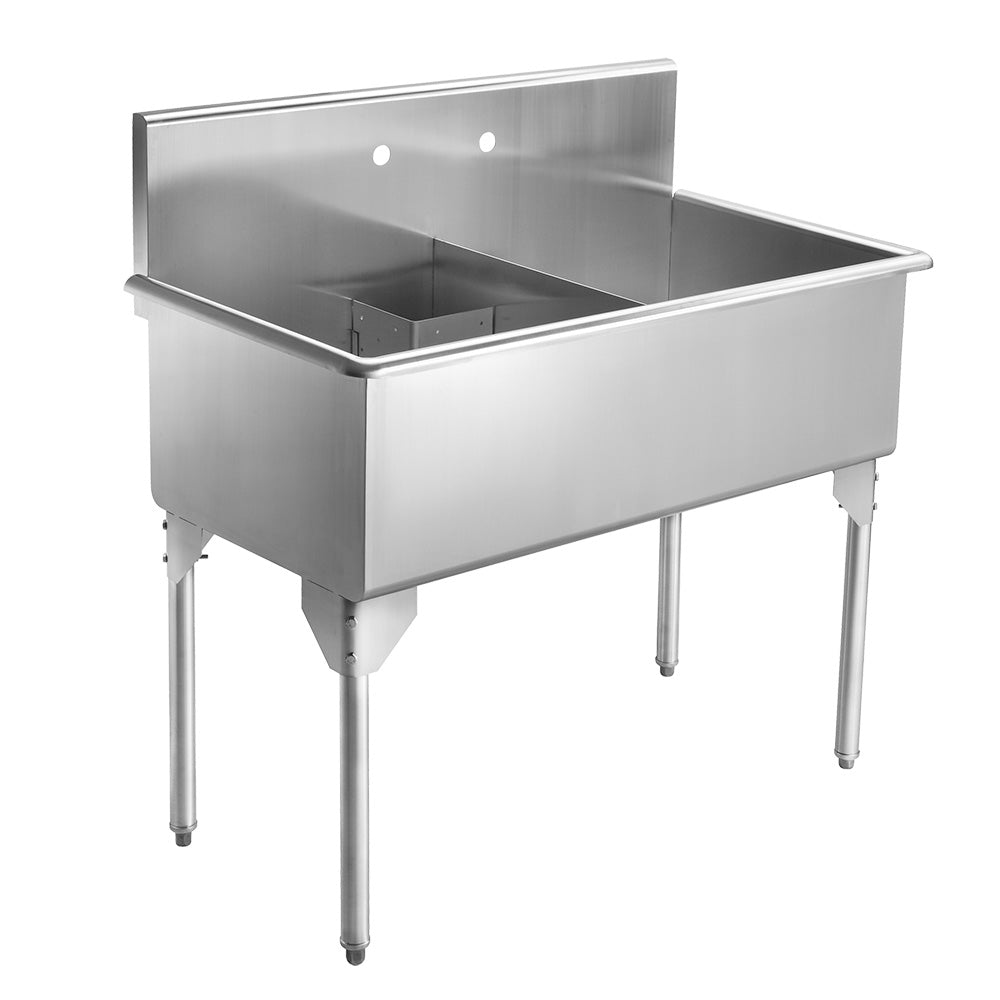 "43"" Pearlhaus Stainless steel double bowl freestanding utility sink"