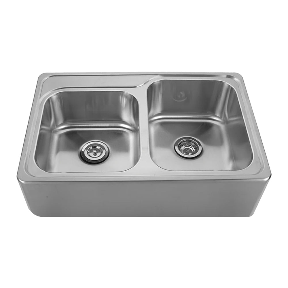 "Noah's Collection 33"" Brushed Stainless Steel Double Bowl Drop-in Sink with a Seamless Customized Front Apron"