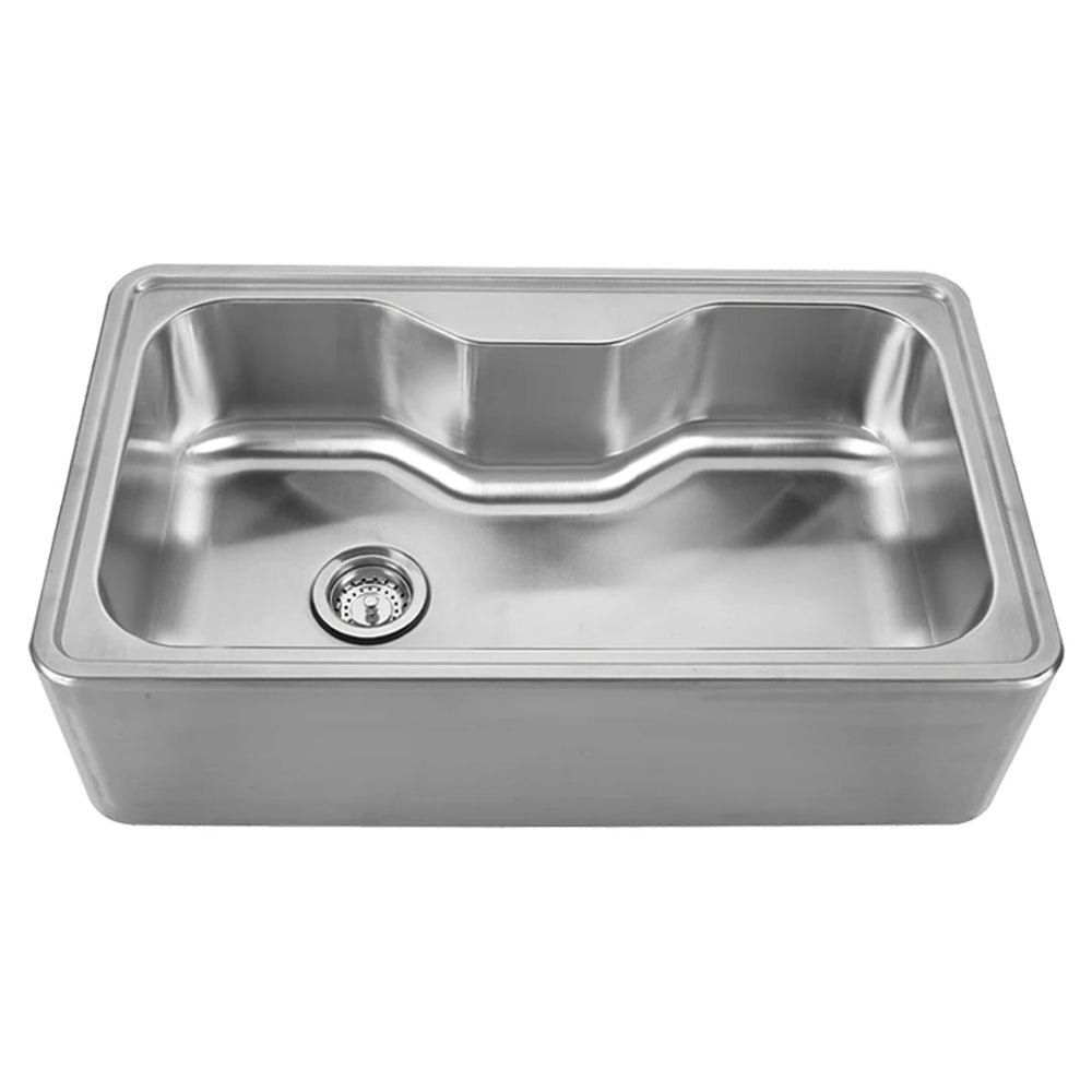 "Noah's Collection 33"" Brushed Stainless Steel Single Bowl Drop-in Sink with a Seamless Customized Front Apron"