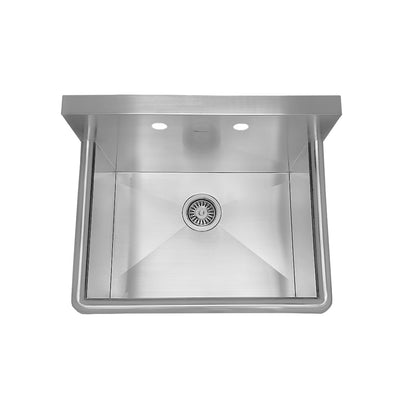 "25"" Noah's Collection Brushed stainless steel commercial drop-in or wall mount utility sink"