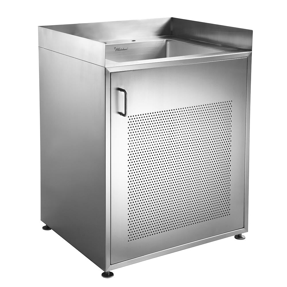 "30"" Pearlhaus stainless steel single door utility cabinet with sink"