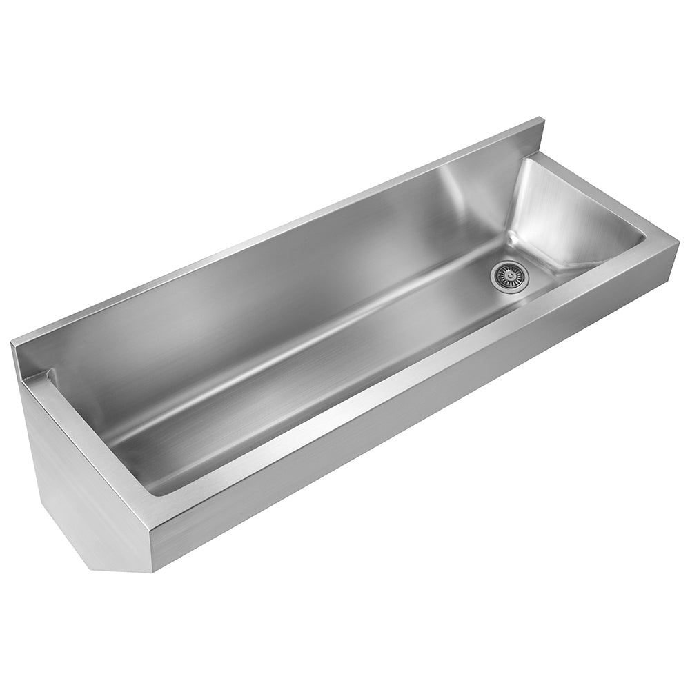 "47"" Noah's Collection stainless steel single bowl wall mount utility sink"