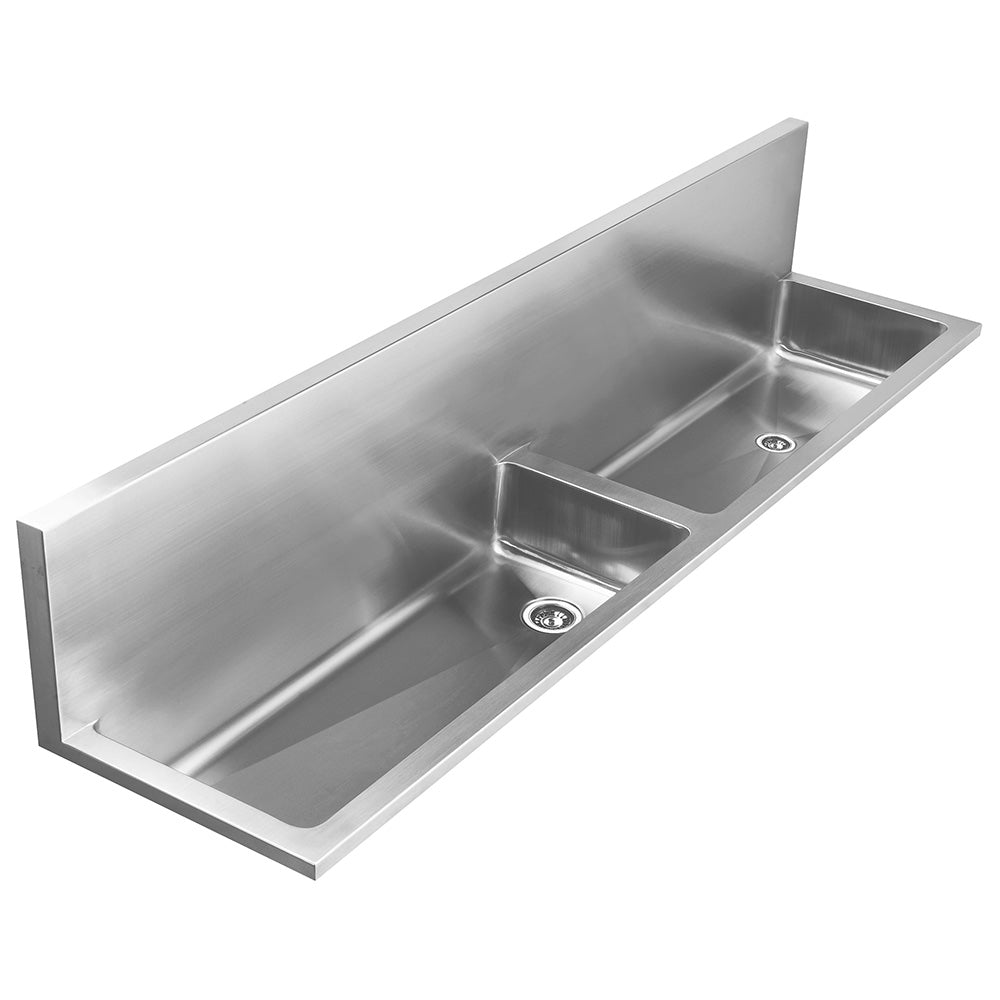 "72"" Noah's Collection stainless steel double bowl wall mount utility sink"