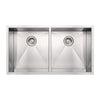 "37"" Noah's Collection brushed stainless steel commercial double bowl undermount sink"