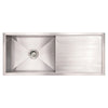 "39"" Noah's Collection Brushed stainless steel commercial single bowl reversible undermount sink with an integral drain board"