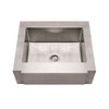 "30"" Noah's Collection 30"" Brushed stainless steel commercial single bowl sink with a decorative notched front apron"