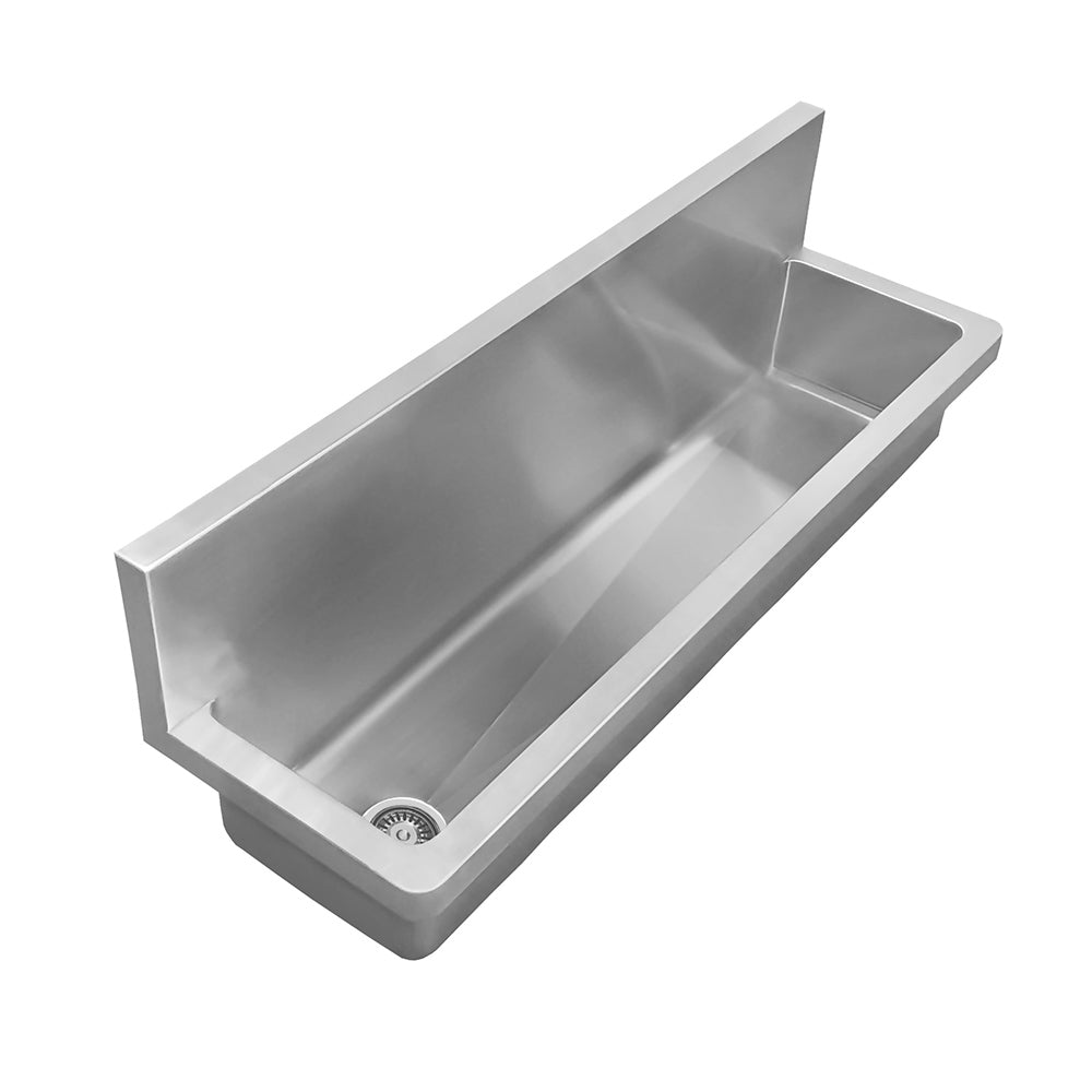 "44"" Noah's Collection brushed stainless steel commercial single bowl wall mount utility sink"