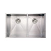 "33"" Noah's Collection Brushed stainless steel commercial double bowl undermount sink"