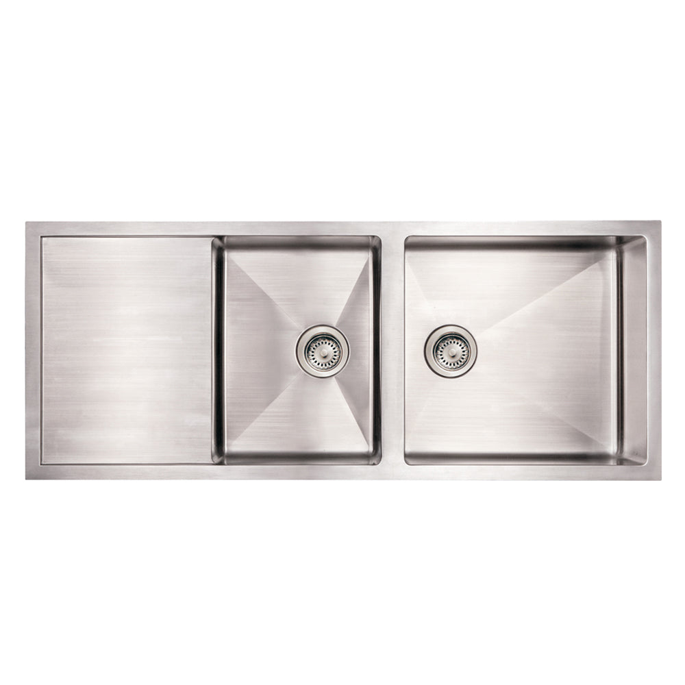 "51"" Noah's Collection brushed stainless steel commercial double bowl reversible undermount sink with an integral drain board"