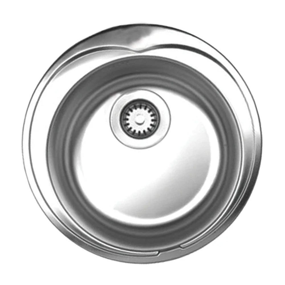 "Noah's Collection 20"" Brushed Stainless Steel Large Round Drop-in Sink"