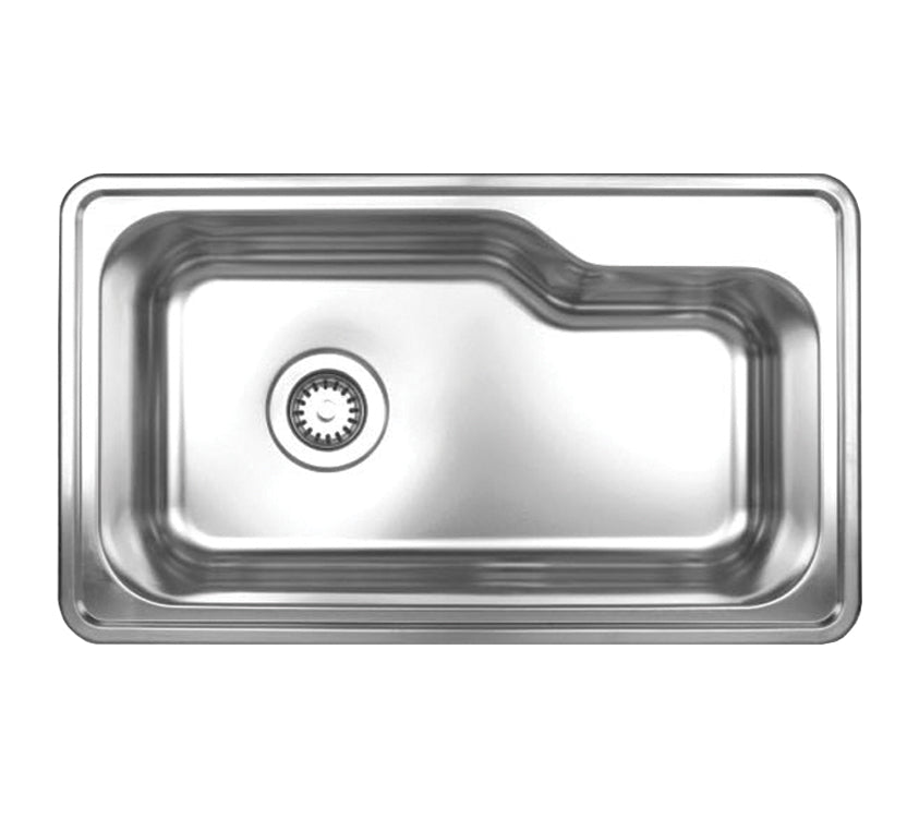 "Noah's Collection 33"" Brushed Stainless Steel Single Bowl Drop-in Sink"