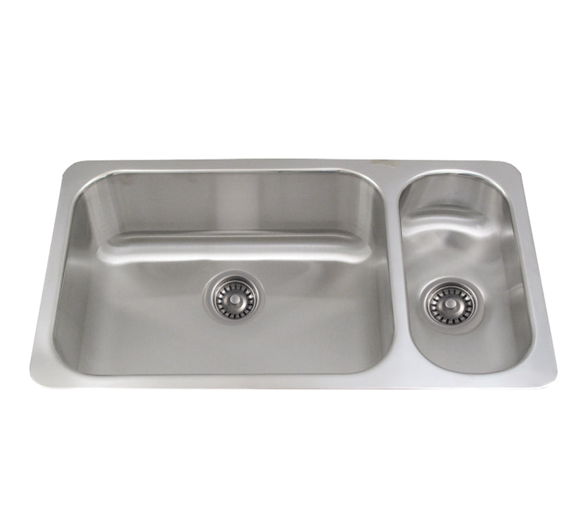 "Noah's Collection 32"" Brushed Stainless Steel Double Bowl Undermount Disposal Sink"