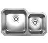 "Noah's Collection 33"" Brushed Stainless Steel Double Bowl Undermount Sink"