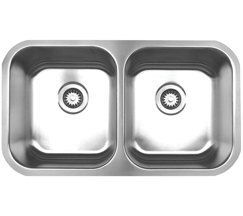"Noah's Collection 31"" Brushed Stainless Steel Double Bowl Undermount Sink"