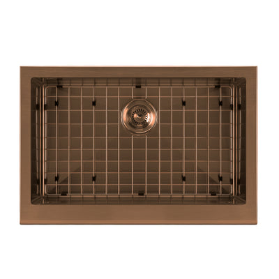 "30"" Noah Plus single bowl 16 gauge sink set with a seamless customized front apron"