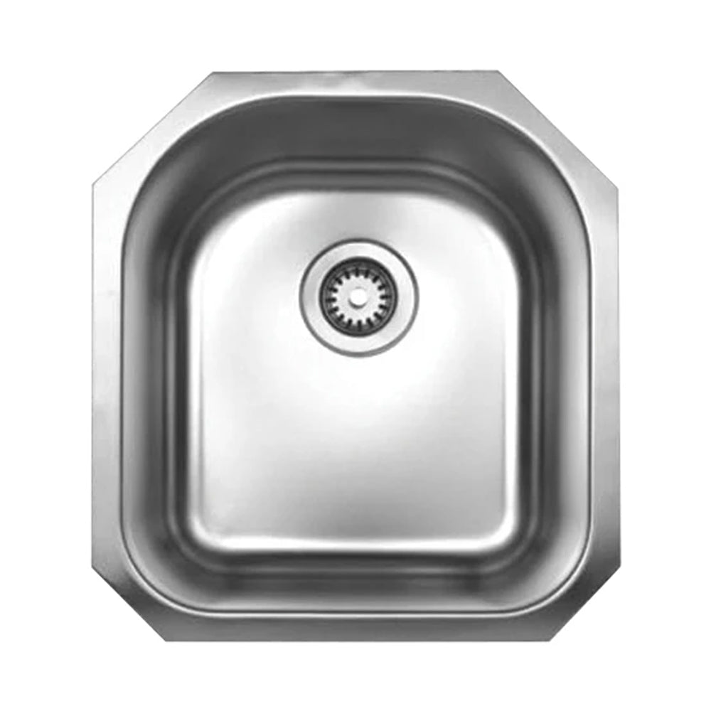 "Noah's Collection 18"" Brushed Stainless Steel Single D-Shaped Bowl Undermount Sink"