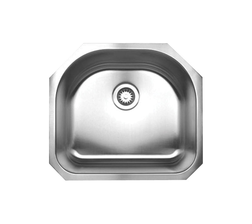 "Noah's Collection 23"" Brushed Stainless Steel Single D-Shaped Bowl Undermount Sink"